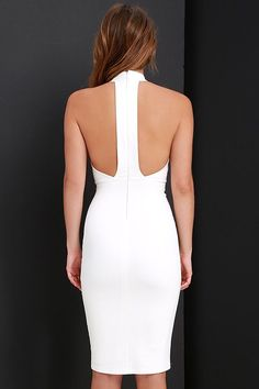 Liven up your wardrobe with the Brought to Life Ivory Bodycon Midi Dress! Medium-weight stretch knit shapes a high-neck, princess-seamed bodice, and bodycon midi skirt. Trendy Dresses, Cute Dresses, Beautiful Dresses, Short Dresses, Fashion Dresses, Bodycon Midi Skirt, Evening Dresses, Summer Dresses, Mode Outfits