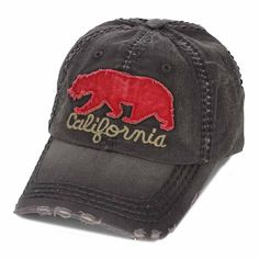 California Bear Baseball Cap Distressed vintage design 100% Cotton