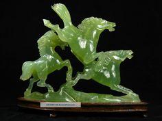 Vintage Chinese Hardstone Jade Horses Wood Stand Photos and Information in AncientPoint Jade, 12 Zodiac, China Art, Malachite, Lapis Lazuli, Condo, Objects, Chinese, Gems