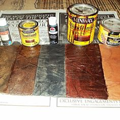 Once your project is dry, you can apply paint or stain depending on the look you are trying to achieve. Here are some examples from L-R: Raw Umber craft paint; Paper Bag Walls, Paper Bag Flooring, Diy Flooring, Brown Paper Flooring, Flooring Ideas, Red Mahogany Stain, Dark Walnut Stain, Walnut Finish, Diy Paper Bag