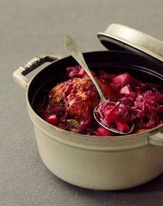 Rôti de porc au chou rouge et aux pommes