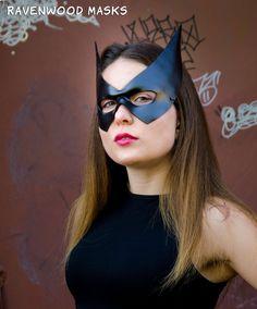 Batgirl Leather Mask BatQuinn Batwoman Catwoman Halloween Black Superhero Face Masks Masquerade Cosplay Carnival Mardi Gras Batman Costume