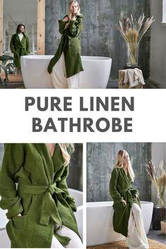 Linen Bathrobe with Hoodie, Green Robe, Bathrobe with Pockets, Kimono Robe, Wedding Gift Idea, Spa Robe Sauna Bathrobe Linen Gown Linen Robe#Linen #Robe #Bathrobe #LinenBathrobe