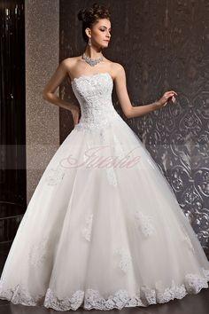 Princess Lace Appliqued Strapless Corset Ball Gown Wedding Dress JSWD0010