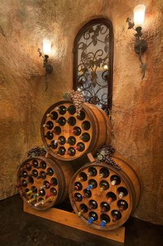 "Wine Rack Barrel by TheBarrelRack on Etsy (now I'm thinking about turning the ""L"" shape walk-in closet under the stairs into a wine cellar using these barrels)! Barrel Projects, Diy Projects, Table Baril, Barris, Wine Barrel Furniture, Wine Decor, In Vino Veritas, Wine Storage, Wine Tasting"