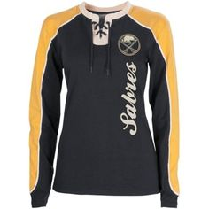 Old Time Hockey Buffalo Sabres Ladies Nora Lace Up Long Sleeve T-Shirt - Navy Blue/Gold