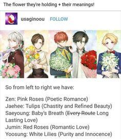 "Zen Hyun Ryu, Jaehee Kang, Saeyoung ""707"" ""Luciel"" Choi, Jumin Han, Yoosung Kim, Mystic Messenger"
