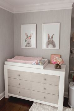 Guess Which Celebrity Nursery Inspired this Gorgeous Space - Project Nursery/ Cabinfield Fine Furniture knows having a baby is hard. Baby furniture shouldn't be. Furniture ideas for nursery room. Bunny Nursery, Baby Nursery Decor, Baby Bedroom, Project Nursery, Baby Decor, Box Room Nursery, Girl Nursery Art, Baby Room Wall Art, Girl Nursery Themes