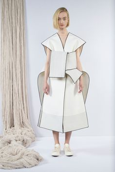 Sculptural Fashion - clean white dress with graphic outline detail; creative fashion // Claudia Li Fall 2016