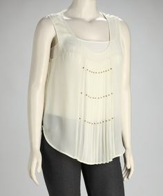 Take a look at this Ivory Pleated Plus-Size Sleeveless Top by Perch by Blu Pepper on #zulily today!