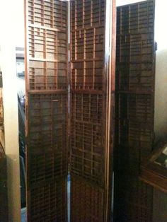 Room divider screen: Reclaimed wood & Antique Printers trays $575.00