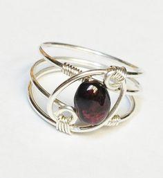 Garnet Ring Garnet Jewelry January Birthstone by SpiralsandSpice