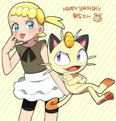 Meowth and Bonnie ♡ I give good credit to whoever made this