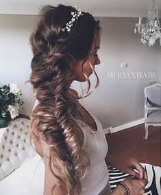 Side Swept Fishtail Braided Long Messy Hairstyles