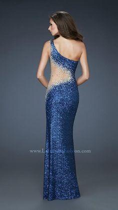 { 17997 | La Femme Fashion 2013 } La Femme Prom Dresses - Sequins - Sheer Side - One Shoulder