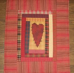 Primitive Homespun Heart Wall Quilt by QuiltingGranny on Etsy, $15.95
