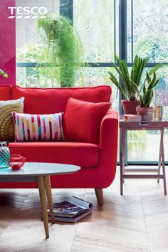 From a bright and bold red sofa to chic cushions and accessories, our collection of vibrant, statement touches is perfect for giving your home an exotic, luxurious feel this summer. Home And Living, Home And Family, Living Room, Interior And Exterior, Interior Design, Wood Sofa, Soft Furnishings, Decoration, House Colors