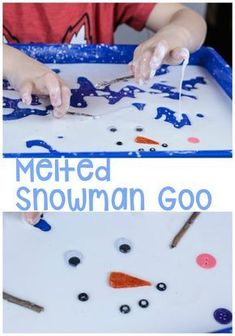 Kids love exploring with slime! This melted snowman sensory activity is no different. Kids will love playing with their melted snowman while having a sensory exploration of states of matter. Try this great sensory kid's activity this winter! Winter Activities For Toddlers, Sensory Activities Toddlers, Christmas Activities For Kids, Science Activities For Kids, Preschool Christmas, Infant Activities, Sensory Play, Sensory Diet, Preschool Winter