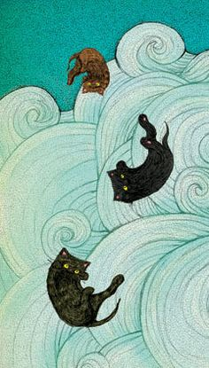 Falling kittens by illustration by Maria Nilsson from Pittipat's Saucer of Moon