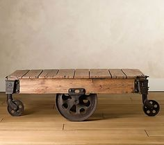 Recycled factory cart table.