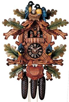 Rare Hones 8609-5tbu Hand Painted Blue Birds 8 Day Musical Animated Cuckoo Clock
