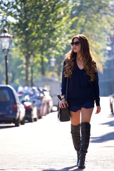 Navy Blue and Leather | Negin Mirsalehi
