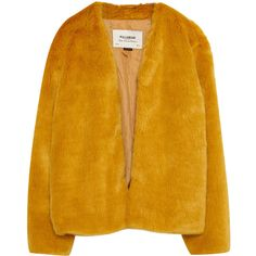 Faux fur jacket ($43) ❤ liked on Polyvore featuring outerwear, jackets, fake fur jacket, yellow jacket and faux fur jacket