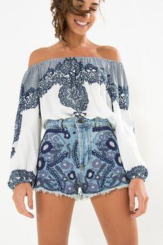 short jeans bordado flor | FARM