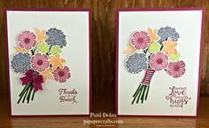 DIY Stampin Up Thank You and sending Love and Hugs cards featuring the Beautiful Bouquet Bundle