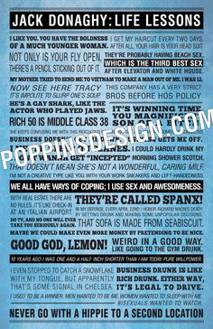 11x17 30 Rock JACK DONAGHY Quotes Poster by PoppinsDesign on Etsy, $19.00