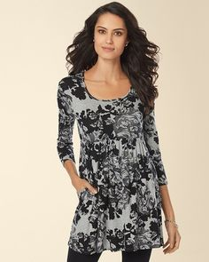 Soma Intimates Soft Jersey Empire Waist 3/4 Sleeve Tunic Mirror Heather Silver #somaintimates My Soma Wish List Sweeps