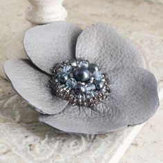 leather flower brooch found at Viridian on Etsy.