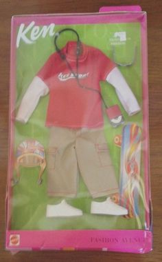 RARE Vintage Ken Mattel Skateboard Outfit Clothes Fashion Avenue 2001 NEW!
