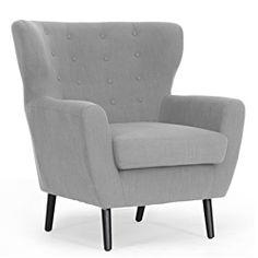 Overstock Moretti Light Grey Linen Modern Club Chair. $388.99