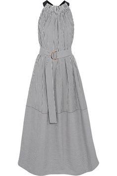 Tibi - Striped Cotton-poplin Midi Dress - Black -