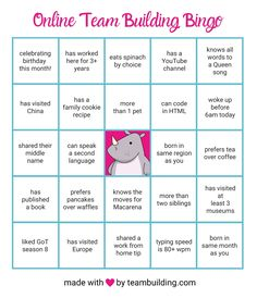 A free game board you can use to play Online Team Building Bingo. Includes rules for the game and pro tips for making the experience fun and engaging. Fun Team Building Activities, Team Building Events, Work Activities, Fun Employee Activities, Sorority Bonding Activities, Movement Activities, Church Activities, Motor Activities, Building Ideas
