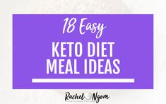 18 Easy Keto Diet Meal Ideas. I'm asked all the time what are some easy keto diet meal ideas…so I wanted to share some of what I eat with you! I'm not a chef and I'm busy (I even wrote The Busy Mom Cookbook because I legit don't spend a ton of time cooking). These meals are all easy peasy to make and require minimum time. Repin and be sure to grab my free keto meal plan while you're here!