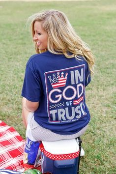 In God We Trust - Short Sleeve - Pocket Tee Color: Nautical Navy  100% pre-shrunk, ringspun pigment-dyed cotton