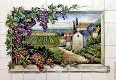"""Купить Фартук для кухни """"Виноград """" - тёмно-зелёный, фартук для кухни, кухня, кухня Прованс"""