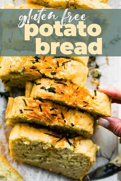 This gluten free potato bread is soft, tender, and full of plant-based protein. Make this quick bread recipe for a nutritious, healthy treat! #glutenfreepotatobread #quickbread #potatobread Bread Recipe Video, Quick Bread Recipes, Good Healthy Recipes, Healthy Treats, Baking Recipes, Gluten Free Sweets, Gluten Free Diet, Gluten Free Baking, Gluten Free Recipes