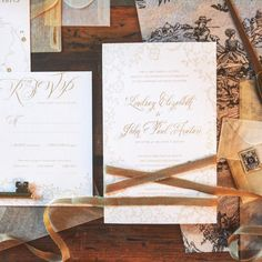 Vintage lace inspired wedding invitation wrapped in Froufrou Chic ribbon. | August & Osceola | www.augustandosceola.com