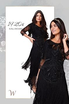 Whether you're celebrating the end of prohibition or just dancing the night away, the 1920s Inspired Evening Maxi Dress in Black makes a stylish statement. Layers of fringe cover the bodice and skirt, making your every movement a little more exciting. Embellished sleeves and dazzling beadwork also make this dress impossible to ignore.