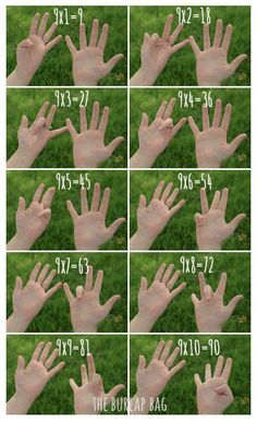 Tablas de multiplicar con dedos ... http://www.theburlapbag.com/2012/04/how-to-multiply-by-9-using-your-fingers/