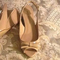 "**REDUCED** Kate Preston Patent Leather Wedge Lovely 2.5"" patent leather wedge in beige.  Only worn around house.  Very comfortable and stylish. Kate Preston Shoes Wedges"