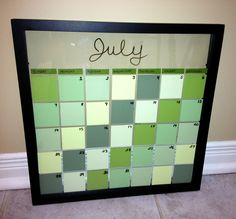 DIY dry erase paint chip calendar!