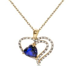 1/7CTTW Diamond with Created Sapphire in 10k Yellow Gold ...…