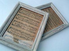 Framed music sheets....love it!