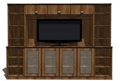 Media Hutch. Thinking something like this, but with all non-see through cabinets on the bottom and wider bookshelf space on the sides.