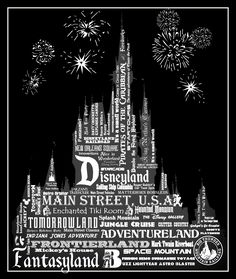 """It started as a subway art project and turned in to this little poster. I created the graphics with a little help from Shannon at wdwprepschool.com      My intention is to 1) Have it printed as a Engineering Print 2) ModPodge it on to MDF board. 3) Create another similar """"poster"""" for Disney's California Adventure. 4) Create a few more as gifts for my Disneyland loving friends. Disney Home, Disney Dream, Disney Fun, Disney Parks, Disneyland California, Disney California Adventure, Disney Themed Bedrooms, Disneyland Castle, Disney Classroom"""