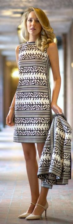 Tory Burch Black And White Jacquard Print Elegant and Classy Dress by The Classy Cubicle